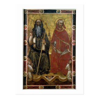 Saints Anthony Abbot and Eligius - Painted process Postcard