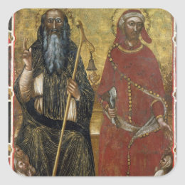 Saints Anthony Abbot and Eligius - Painted process Square Sticker