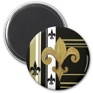 Saints Black and Gold Fleur de lis 2 Inch Round Magnet