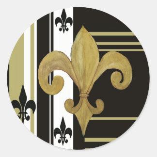 Saints Black and Gold Fleur de lis Classic Round Sticker