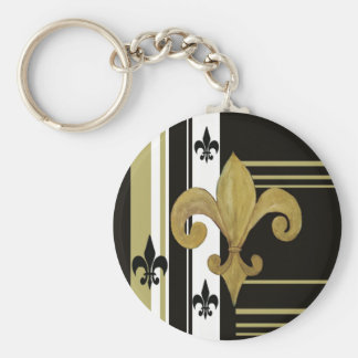 Saints Black and Gold Fleur de lis Key Chain