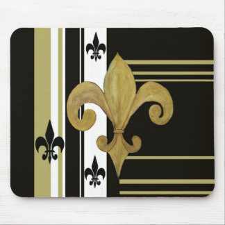 Saints Black and Gold Fleur de lis Mouse Pad