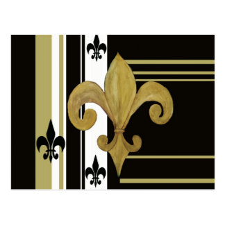 Saints Black and Gold Fleur de lis Postcard