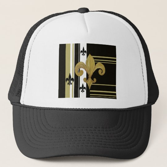 Saints Black and Gold Fleur de lis Trucker Hat