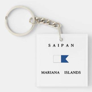 Saipan Mariana Islands Alpha Dive Flag Double-Sided Square Acrylic Keychain