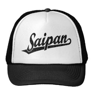 Saipan script logo in black distressed trucker hat
