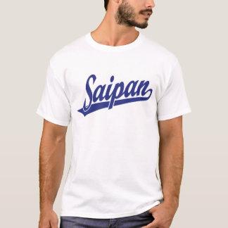 Saipan script logo in blue T-Shirt