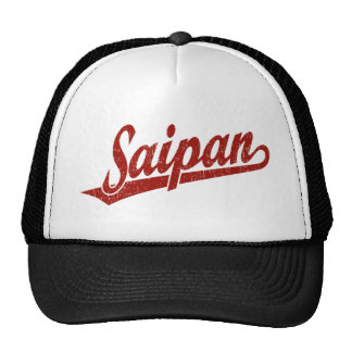Saipan script logo in red distressed trucker hat