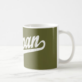 Saipan script logo in white distressed coffee mug