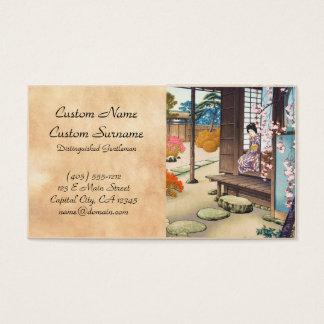 Saito Hodo Bijin By A Garden Engawa in Spring Business Card