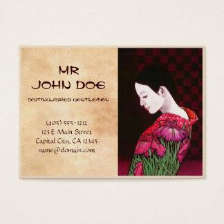 Saito Kaoru Japanese Iris japanese lady kimono art Business Card