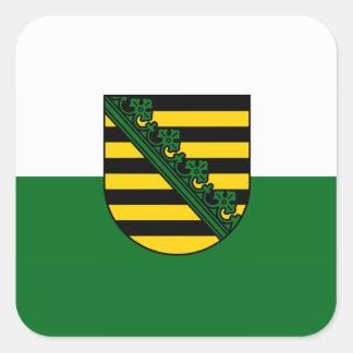 Sajonia bandera pegatina cuadrada