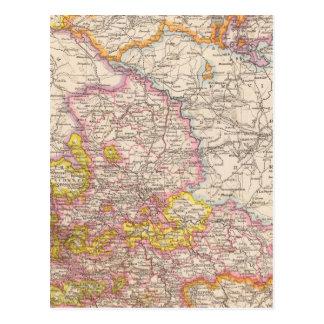 Sajonia, Mecklenburg, mapa del atlas de Anhalt Postal