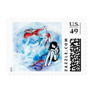 """SajuArt Zen """"Dreaming Goldfish"""" Postage Stamp"""