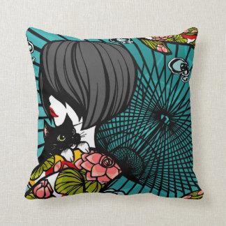 """SajuArt Zen """" Neko Koi Koi """" PillowWe Throw Pillow"""