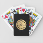 """Sakai Mon Japanese samurai clan brushed faux gold Bicycle Playing Cards<br><div class=""""desc"""">Sakai mon from the japanese shogunate. The mon is an emblem to designate a family, clan or even an organization. The kamon is used specifically to identify a family. The mon is similar to the coat of arms from European heraldic tradition. Although, there is a big difference, the mon stays...</div>"""