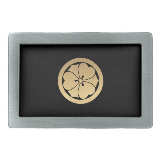 Sakai Mon Japanese samurai clan brushed faux gold Rectangular Belt Buckle