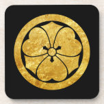 """Sakai Mon Japanese samurai clan faux gold on black Beverage Coaster<br><div class=""""desc"""">Sakai mon from the japanese shogunate. The mon is an emblem to designate a family, clan or even an organization. The kamon is used specifically to identify a family. The mon is similar to the coat of arms from European heraldic tradition. Although, there is a big difference, the mon stays...</div>"""