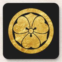 Sakai Mon Japanese samurai clan faux gold on black Beverage Coaster
