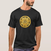 Sakai Mon Japanese samurai clan faux gold on black T-Shirt