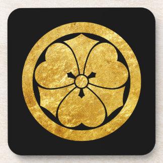 Sakai Mon Japanese samurai clan gold on black Beverage Coaster