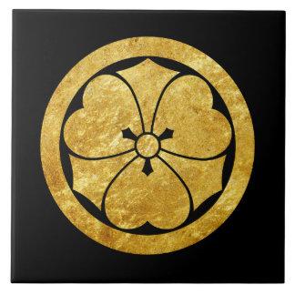 Sakai Mon Japanese samurai clan gold on black Ceramic Tile