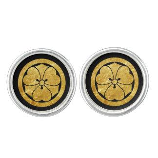 Sakai Mon Japanese samurai clan gold on black Cufflinks
