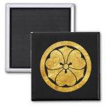 Sakai Mon Japanese samurai clan gold on black 2 Inch Square Magnet
