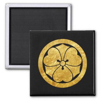Sakai Mon Japanese samurai clan gold on black Magnet