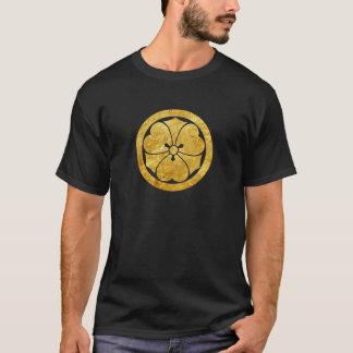 Sakai Mon Japanese samurai clan gold on black T-Shirt