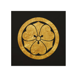 Sakai Mon Japanese samurai clan gold on black Wood Wall Decor