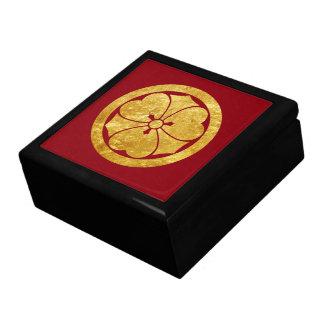 Sakai Mon Japanese samurai clan in faux gold Jewelry Box