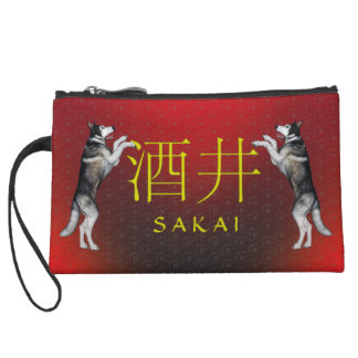 Sakai Monogram Dog Wristlet