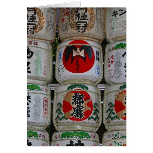 sake barrels japan card