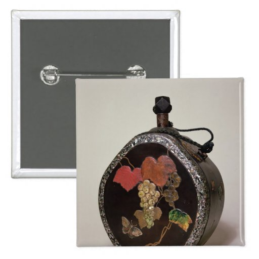 Sake flask inlaid with mother of pearl pinback button