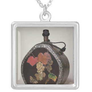 Sake flask inlaid with mother of pearl silver plated necklace