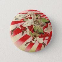 Sake for a Samurai Vintage Woodblock Print Button