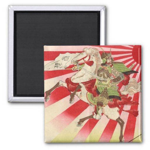 Sake for a Samurai Vintage Woodblock Print 2 Inch Square Magnet