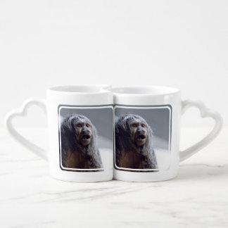Saki Monkey Face Couples' Coffee Mug Set