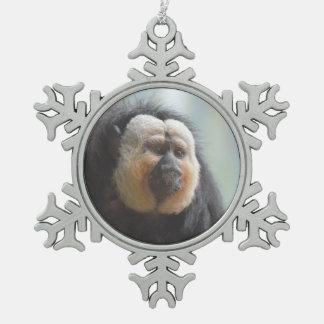 Saki Monkey Snowflake Pewter Christmas Ornament