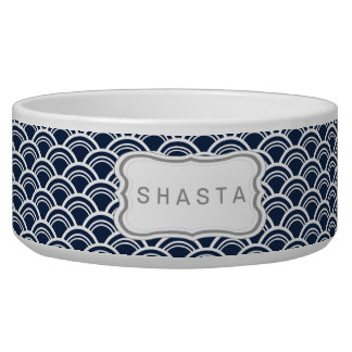 Sakia Wave Pattern Dog Bowl - indigo