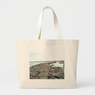 Sakonnet Point breakwater - Little Compton, RI Large Tote Bag