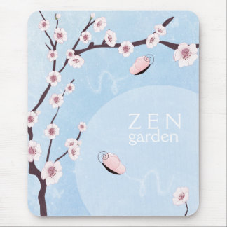 Sakura and Butterflies Baby Blue Mousepad