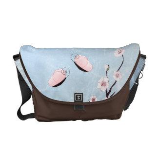 Sakura and Butterflies Baby Blue Rickshaw Messenge Messenger Bag