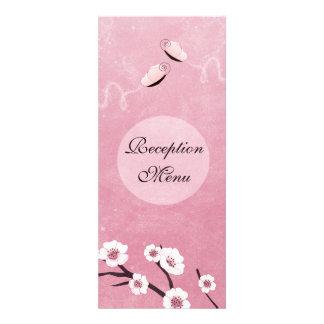 Sakura and Butterflies Wedding Menu Personalized Announcement
