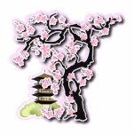 Sakura and Pagoda Japanese Design Key Chain Photo Sculpture Keychain