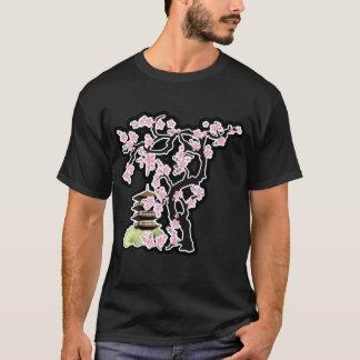 Sakura and Pagoda Japanese Design T-Shirt