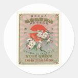 Sakura and Sun Vintage Japanese Silk Label Classic Round Sticker