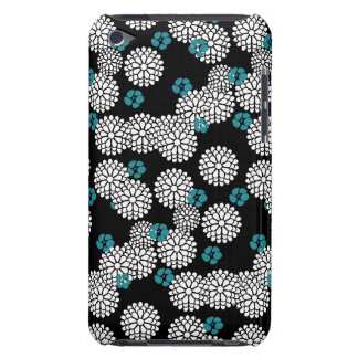 Sakura black blue flowers floral pattern barely there iPod cases