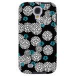 Sakura black blue flowers floral pattern galaxy s4 case